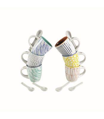 Marea Set 6 tazzine caffè in gres colorato con cucchiaino Villa d'Este