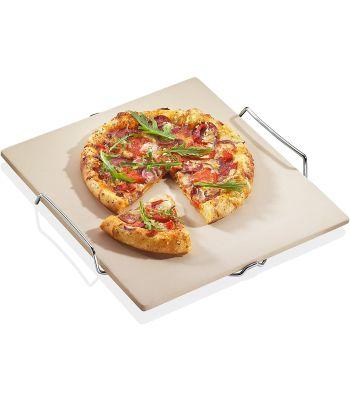 Pietra QUADRATA per pizza, con base inox cm 35,5x38 KUCHENPROFI