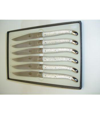 Set 6 coltelli bistecca lustrini argento FORGE DE LAGUIOLE